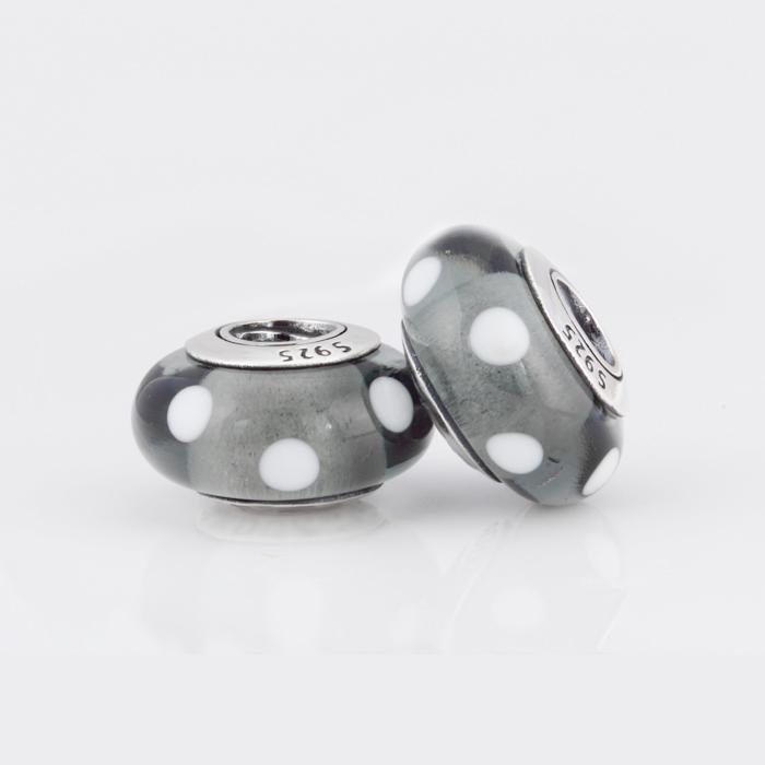 Authentic 925 Sterling Silver Polka Dot Murano Glass Beads Fit Pandora Bracelets Glass Charm Black White