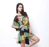 Plus Size Dresses 2014 New Spring Summer Chiffon Spell Cotton Sun Printing Fashion Sexy Women Dress Bust 190CM Z1645