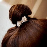 New Sweet White Pearl headwear Rhinestone Small Bow Knot Girls Woman butterfly hairbands 261127