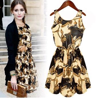 2014 Большой размер женской одежды кружева шифона печатных платье свободного покроя ...