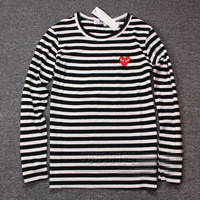 Cool High qulity COMME Des GARCONS CDG PLAY RED HEART Embroidery striped Print women men lover LONG SLEEVE BLACK T- SHIRT