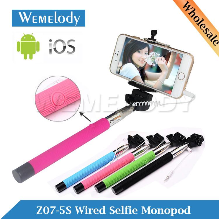 Z07-5S Cable Take Pole Wired Monope Mobile Phone Monopod Suporte Extensor de Vara Para Celular Selfie Stick Extensible Monopie(China (Mainland))