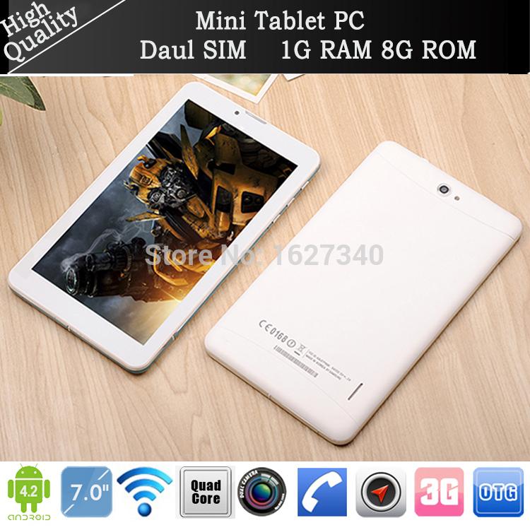 "Brand New 7"" Tablet pc Andriod Quad Core MTK6582 3G Phone call Dual SIM Cameras 2+5MP falsh 1G/8G GPS FM buletooth notebook pad(China (Mainland))"