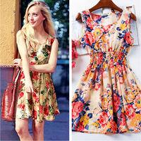 2015 Casual Women Dress Vestidos De Renda Florial Print Bohemian Roupas Femininas Tropical Female Clothing Desigual Summer Dress