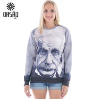 2015 Fashion Men Women Lifelike Albert Einstein Print Sweatshirt Unisex Hoodies Free Shipping