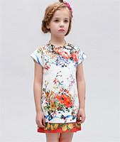 High ending! New design 2015 fashion brand elegant girls dress with floral, high quality luxury European designer princess dress