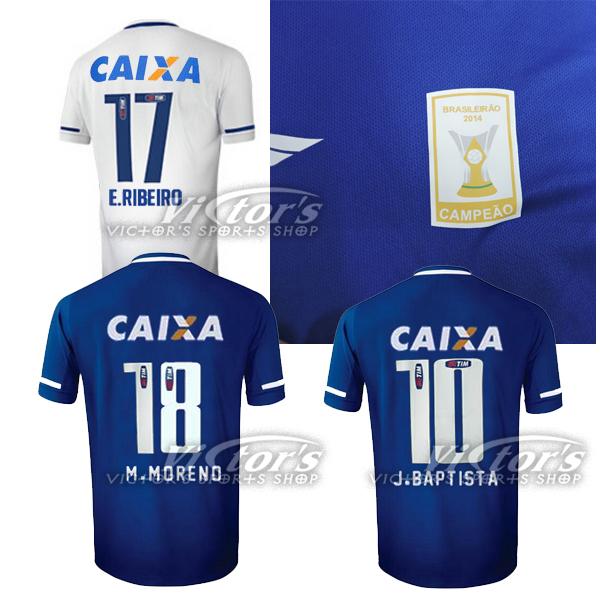 M.MORENO 18 2015 Cruzeiro Jersey home blue E.RIBEIRO 17 Away white 15 16 camisetas futbol Cruzeiro J.BAPTISTA 10 soccer shirt(China (Mainland))
