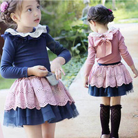 2015New arrival girls kids clothing sets children's 2pcs suit Hollow collar shirt+lace skirt princess Korean style B0102