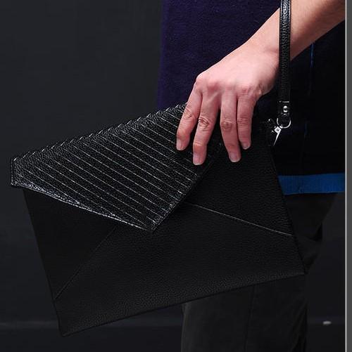 Envelope Bag  Day Clutch Bag For Man High Quality Men's Handbag Black Pu Leather Small Briefcase Bag For Male Business Bag(China (Mainland))