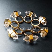 Новый! Itally дизайнер стиль природный настоящее кристалл кварцевые кольца в Высокое качество с 24 К лучший позолоченные бесплатная доставка