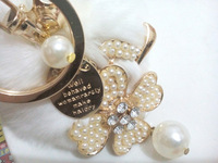 fashion fortune leaves key ring   crystal keyring  with pearl hanging keychain high quality fur ball hanging accessories