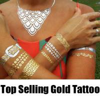 Artilady  mix style chevron cute temporary tattoos women tattoo set gold metallic  tattoos big size