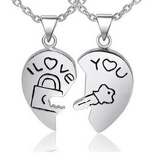 Jewelry wholesale 925 sterling silver Platinum plated couple Cupid couples key pendant necklace fashion necklace