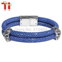 Ti 2015 Exclusive jewelry  fashion genuine stingray bracelet with skull head man's bangles