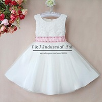 Retail PartyGirl Dress Chiffon White Wedding Girls Dresses Top Grace Princess Girls Wear Kids Clothes Free Shipping