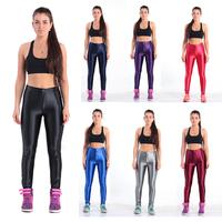 Womens Sexy Disco Pants American High Waist Glossy Pants 2015 New Apparel AA Pants Solid Gym  Women Leggings 5 Size Plus XXL