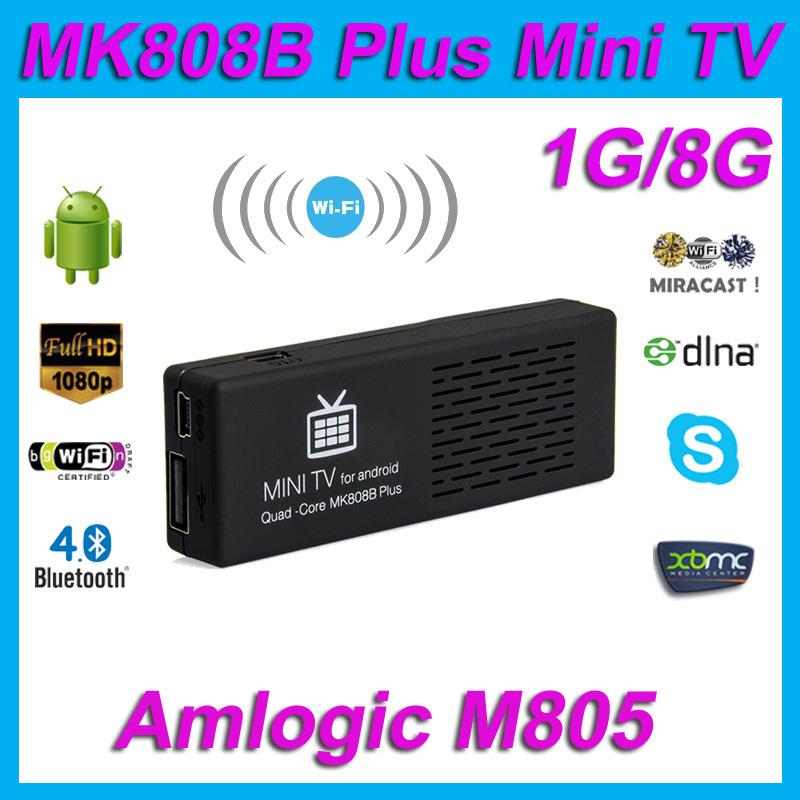 Original MK808B Plus Amlogic M805 Android 4.4 Quad Core TV Stick Dongle H.265 Decode 1G/8G HDMI Bluetooth WiFi XBMC Mini PC(China (Mainland))