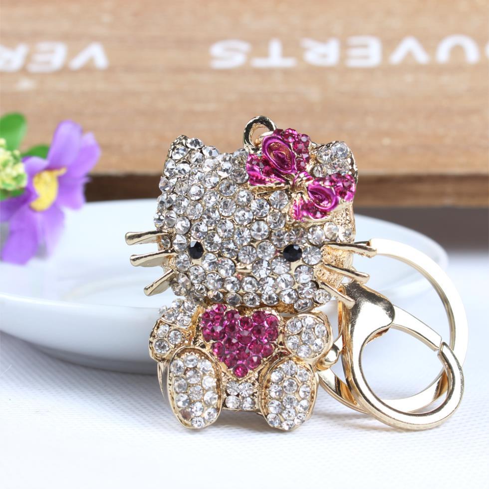 Sweet Heart Hot Pink Hello Kitty Cat Butterfly Cute Crystal Charm Purse Handbag Car Key Keyring Keychain Party Birthday Gift(China (Mainland))
