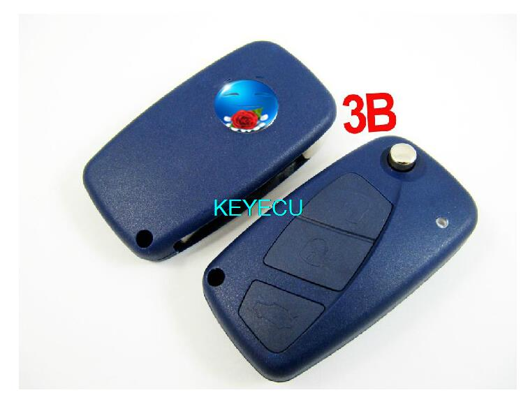 BRAND NEW Replacement Shell Folding Remote Key Case for FIAT Punto Ducato Stilo Panda Flip Fob Blue Color 3 Button(China (Mainland))
