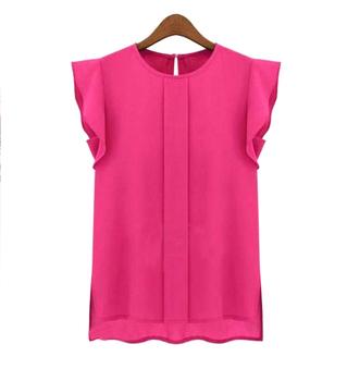 Лето женщин пр шифон блузка рубашка S-XL гофрирование короткий рукав 4 цвета топы ...