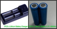 2PCS/Lot High Quality 18650 1800mA/3.7V Rechargeable Battery Lithium Battery+1PCS Lithium Battery Charger Free Shipping