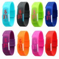 2014 NEW waterproof The keys Touch square dial Digital Jelly Silicone Bracelet LED Sports Wrist Watch fashion Women Men Watch