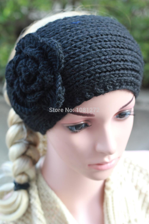 2015Big Flower Light Gray Knit Headband,Cute Turban Headband,Earwarmer,Hair Accessory,Head wrap,headband pattern, 7006(China (Mainland))