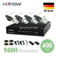 DE Stock 4CH CCTV System 960H HDMI DVR 4PCS 600TVL IR Weatherproof Outdoor CCTV Camera Home Security System Surveillance Kits
