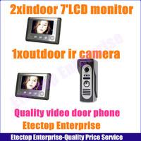 2x7'' TFT LCD Monitor+1xOutdoor IR CMOS camera,Colour Video Door Phone Doorbell Camera Home Intercom System