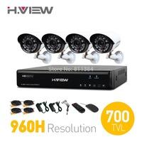 EU Stock 4CH CCTV System 960H HDMI DVR 2PCS 700TVL IR Weatherproof CCTV Camera Home Security System Surveillance Kits 500G HDD