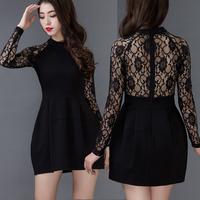 2015 Party Dress Vestidos Women Dress O-neck Lace Long Sleeve Slim Plus Size Elegant Bud Dress Mini Evening Club Party Dress A28