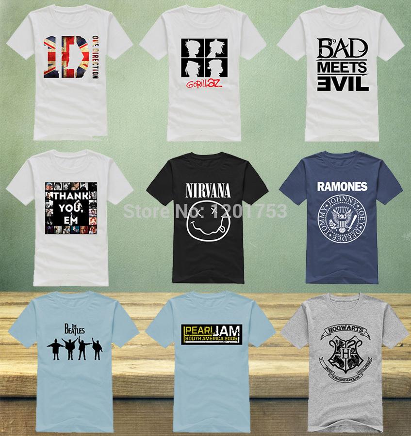 Fashion Nirvana Bad Meets Evil Eminem Men T Shirts Music Band Ramones One Direction Male t-shirts The Beatles Man Tee Shirts(China (Mainland))