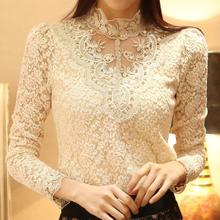 2015 Hot Sale Beading fique Chiffon camisa Plus Size roupa do laço das mulheres blusa de renda mulher camisas com manga comprida do Vintage(China (Mainland))