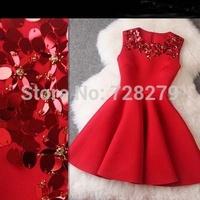 2014 Plus size Clothing space Cotton slim expansion Bottom sleeveless Fashion Women's Dress Red Dresses