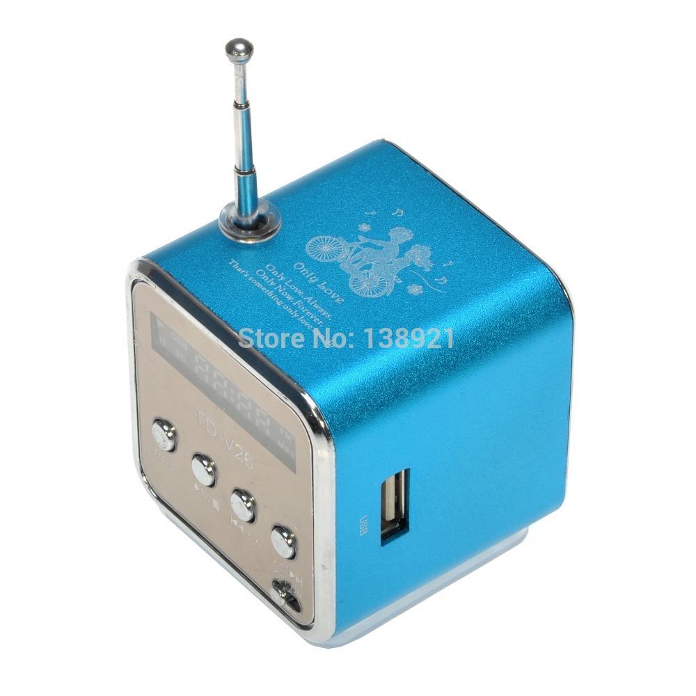 Portable TD-V26 Mini Portable Aluminum Alloy USB Speaker Sound Amplifier Box FM Radio Support TF/SD Card(China (Mainland))