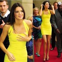 2015 new fashion dresses sleeveless spaghetti strap  yellow women casual dress