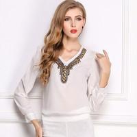 2015 hipster beauty chiffon beaded V-neck long-sleeved shirt Slim collar shirt decorated women F015