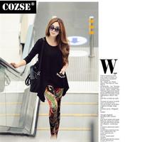 New 2014  Winter  Fshion Graffiti Print  Slim Size Women Leggings European Style  Free Shipping L3121
