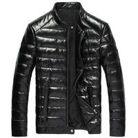 2015 New leather Down jacket Genuine Sheepskin Slim short Designer Black Winter men coats free shipping 14B033A