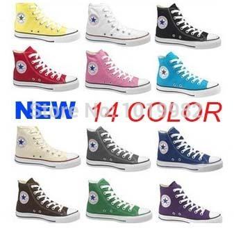 С коробкой! бесплатная доставка 2014 Новый стиль мода марка 13 цвет женщины мужчины кроссовки для бренда холст обувь размер 35-45