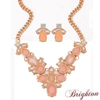 Fashion Jewelry Sets Gold Plated 3 Colors Resin Stone Flower Shaped Pendant Luxury Women Necklacen & Stud Earrings Alloy Jewelry