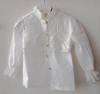 wholesale(5pcs/lot)-2015 spring autumn lace  colorful button white shirt for 2-7 child girl