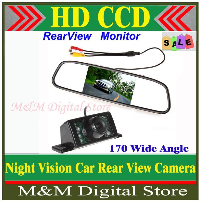 "Parking Kit With 4.3"" TFT LCD Display Car Rear View Mirror Monitor + 7 IR Nig"