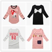 3-7YBrand New 100% Cotton Girls tees Tops Children T-shirt Baby Girl Long sleeve t shirts Cartoon Blouse dress