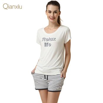 Qianxiu марка пижамы Kintted хлопок пижамы комплект для женщин модальные полосы Pijamas ...