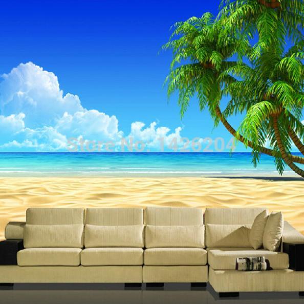 Tembok-besar-yang-Modern-3D-palm-beach-lanskap-yang-luas-wallpaper ...