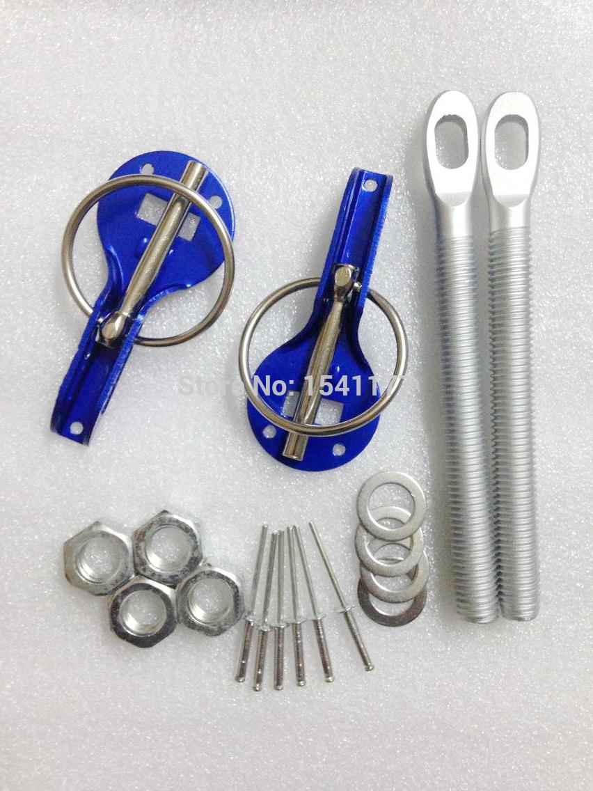 Blue Universal Racing Car Alloy Bonnet Hood Pin Lock Kit Down Hood Locks Pins(China (Mainland))