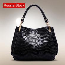 Women Handbag 2014 New Fashion Royal Blue Ruby Red handbags women bags crocodile Pattern PU Leather Shoulder notebook(China (Mainland))