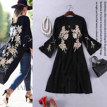 Черный вышивка пальто женщин 2015 весна впп бренды тонкий легкие лето пальто дамы пальто мыса XXL женский