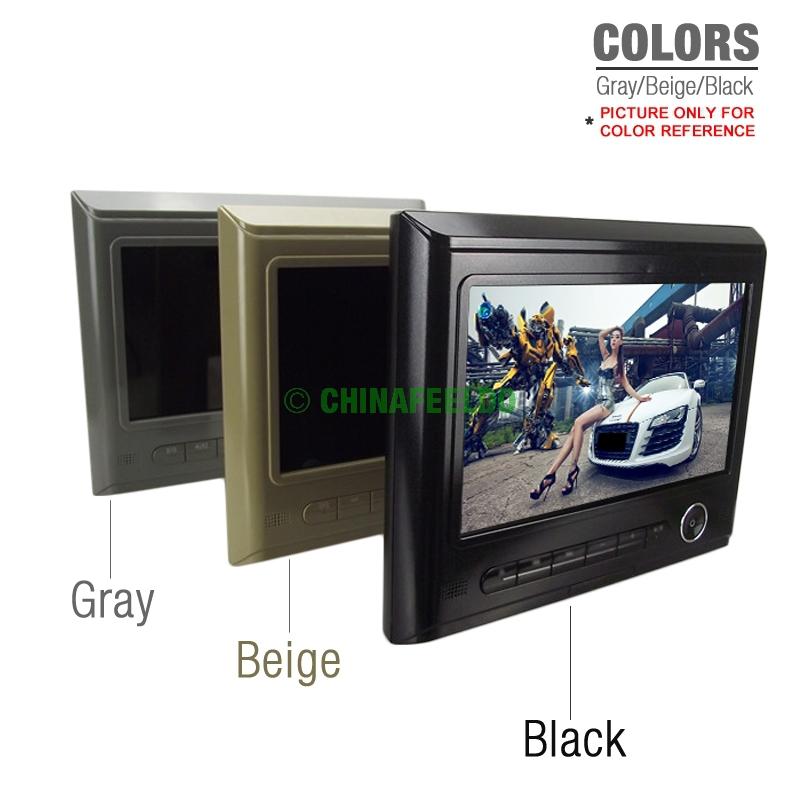 9inch Car Headrest HD Digital LCD Monitor Media Player Supports 720P/RM/RMVB/AVI/FLV/MP4/AV-In/Out/IR/FM/Game/USB/SD(China (Mainland))